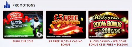 Lucks Casino Deposit Bonuses